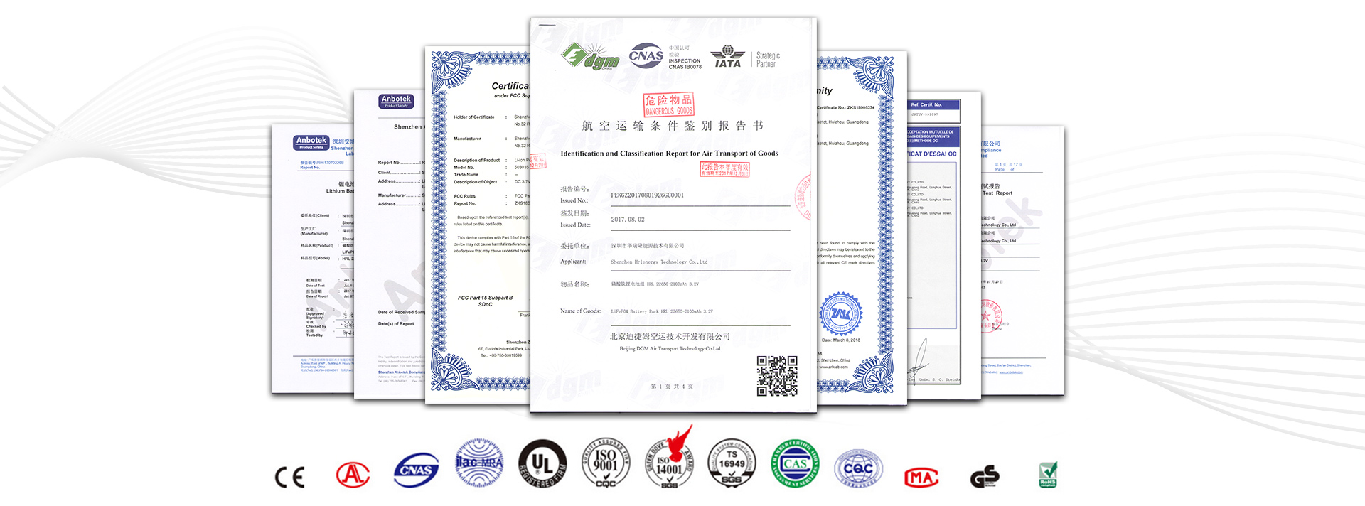 LiPo Rechargeable Batteries of kinds certification